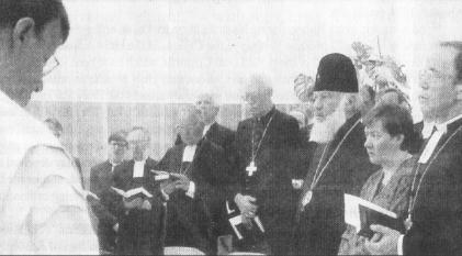 Metropolitan Vladimir Sabodan (MP) participates in an ecumenical service with Lutherans and Catholics in Finland. Helsinki, 22.5.92