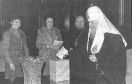 "Elections to the Supreme Soviet. Patriarch Pimen (Izvekov) of Moscow votes for the ""block of Communists and independent candidates""."
