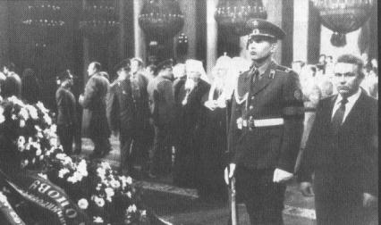 "Patriarch Pimen (Izvekov) of Moscow and his future successor Alexy (Ridiger) take part in the ""guard of honor"" by Andropov's coffin."