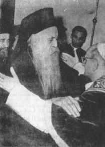 """Brotherly embrace"" of Patriarch Demetrios Pandopoulos and Pope Paul VI of Rome."