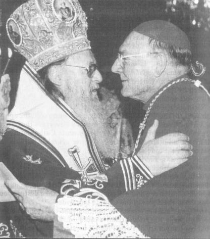 Patriarch Bartholomeos Arhondonis and Cardinal Cassidy: brotherly communion with Roman Catholics -- the kiss of Judas