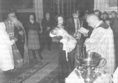 Catholic baptism in the Church of Resurrection in Moscow (Nezhdanova St.) Feb. 1980.