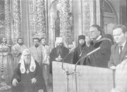 The U.S. Protestant preacher Billy Graham in the patriarchal Cathedral of Theophany in Moscow. 1981.